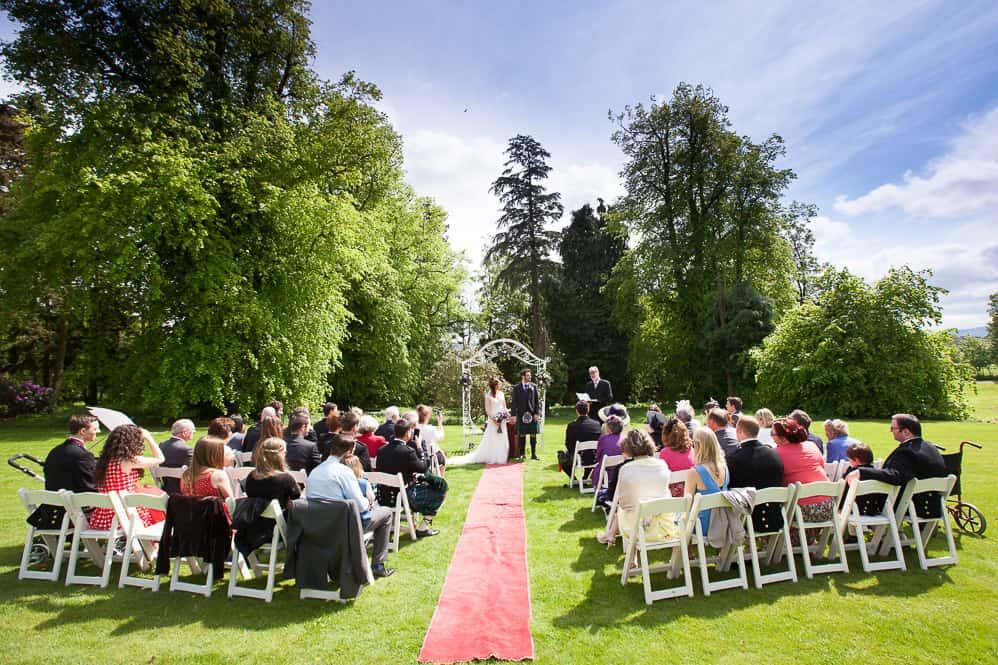 12 outdoor wedding ceremony at fernie castle st andrews cupar