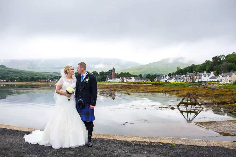 19 bride and groom at luss pier on isle of arran