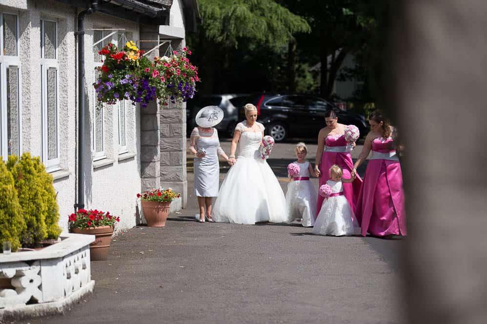 4 bridal party walking