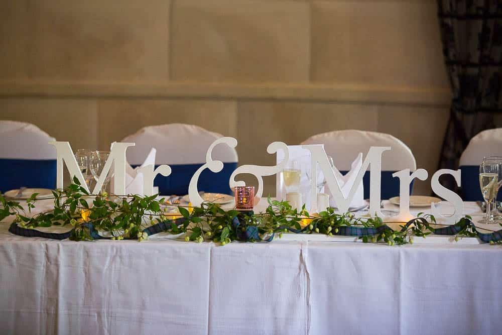 Fernie Castle wedding mr & mrs sign