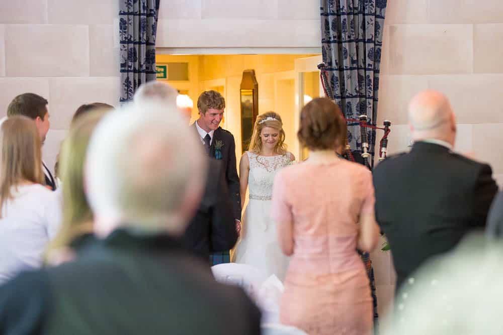 Fernie Castle wedding bride and groom arrival to reception area
