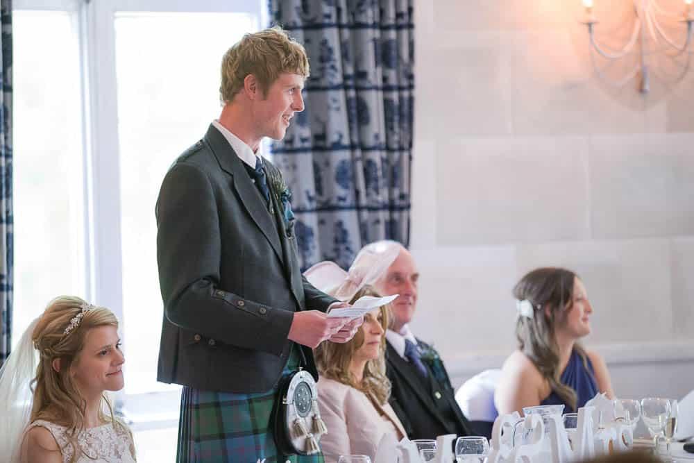 Fernie Castle wedding groom speech reception