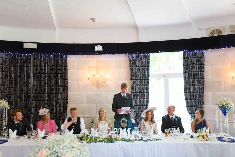 Fernie Castle wedding grooms speech top table reception bride