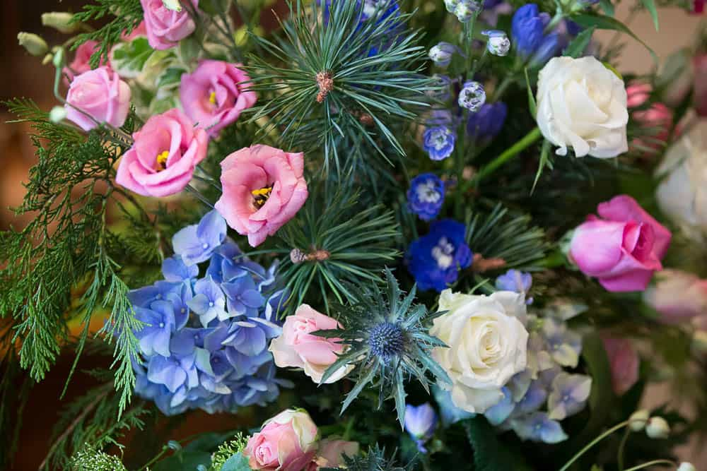 Fernie Castle wedding Scottish flowers blue and pink and heather