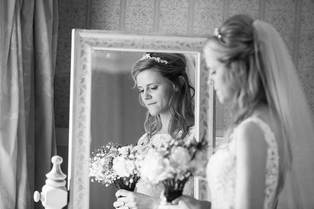 Fernie Castle wedding romantic bride reflection in the mirror black and white