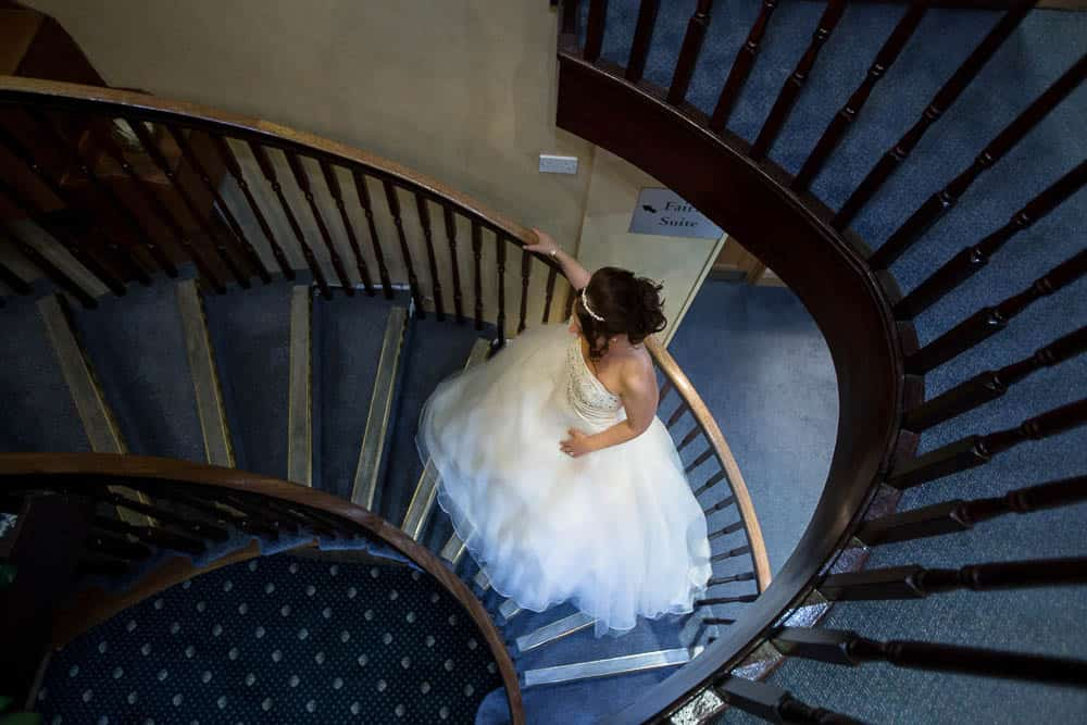 25 bride on stairs Deer Park Golf Country Club