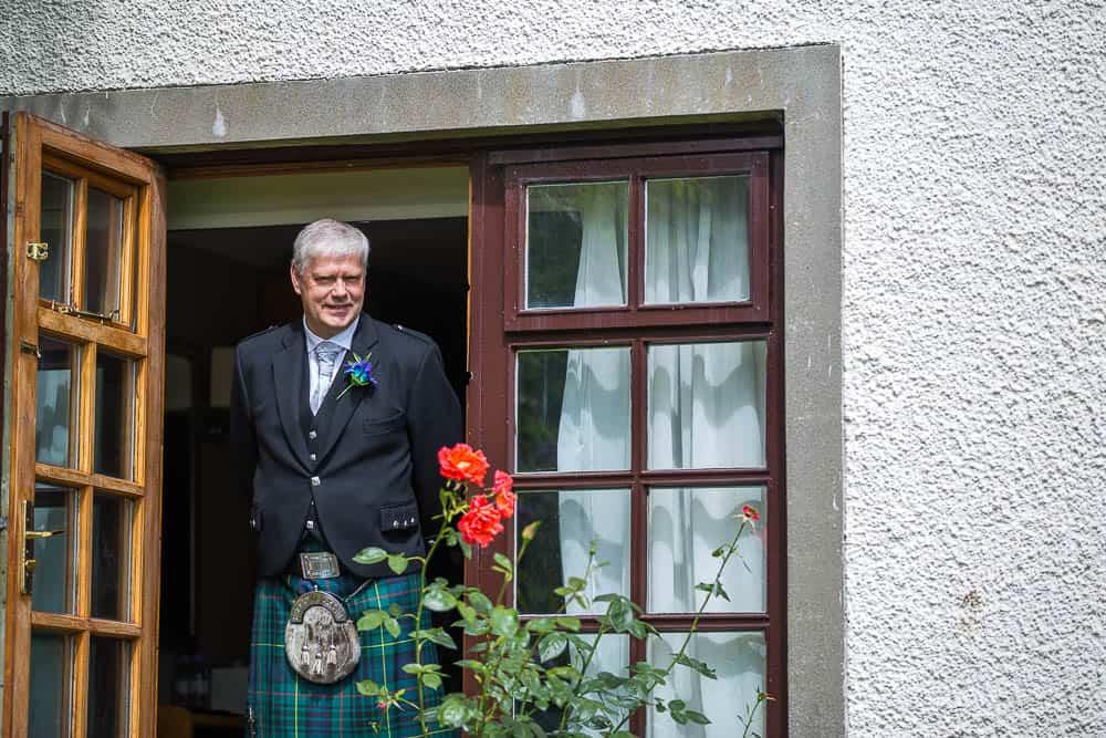 keavil house hotel wedding father of bride in window