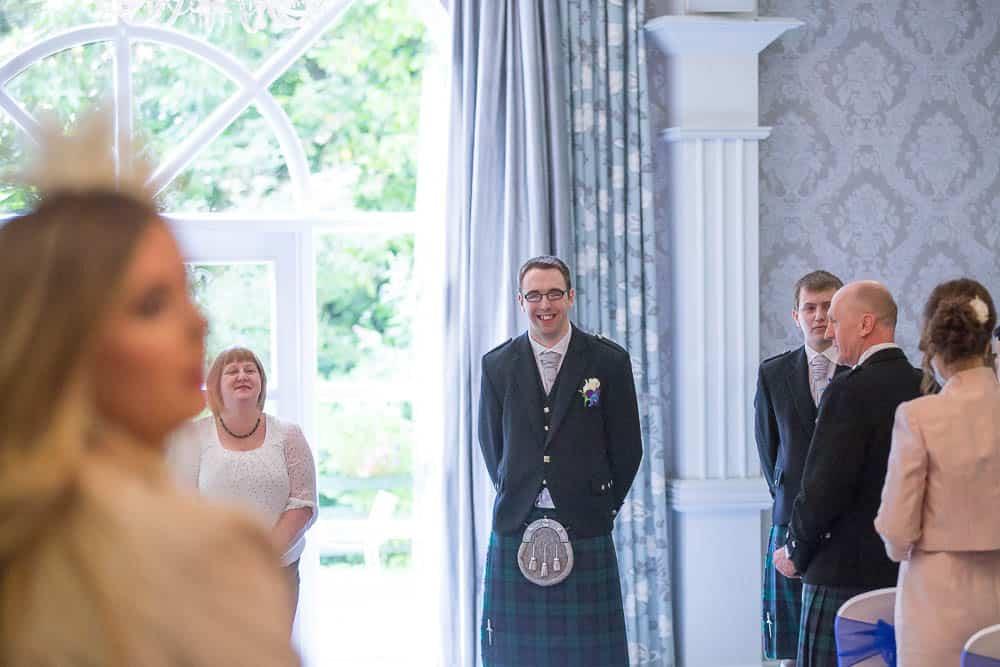 keavil house hotel wedding groom awaiting bride