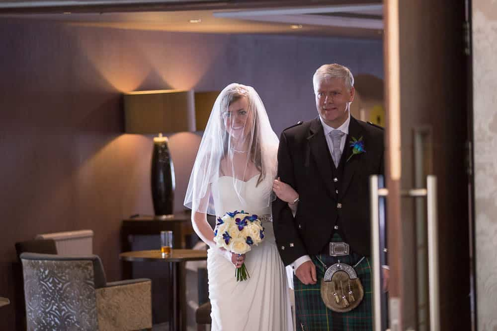 keavil house hotel wedding bride with her father walking down the aisle
