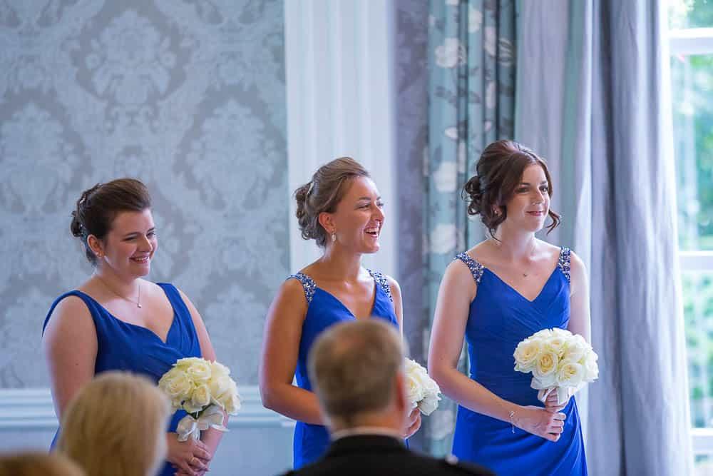 keavil house hotel wedding joyful and happy bridesmaids wearing blue dresses