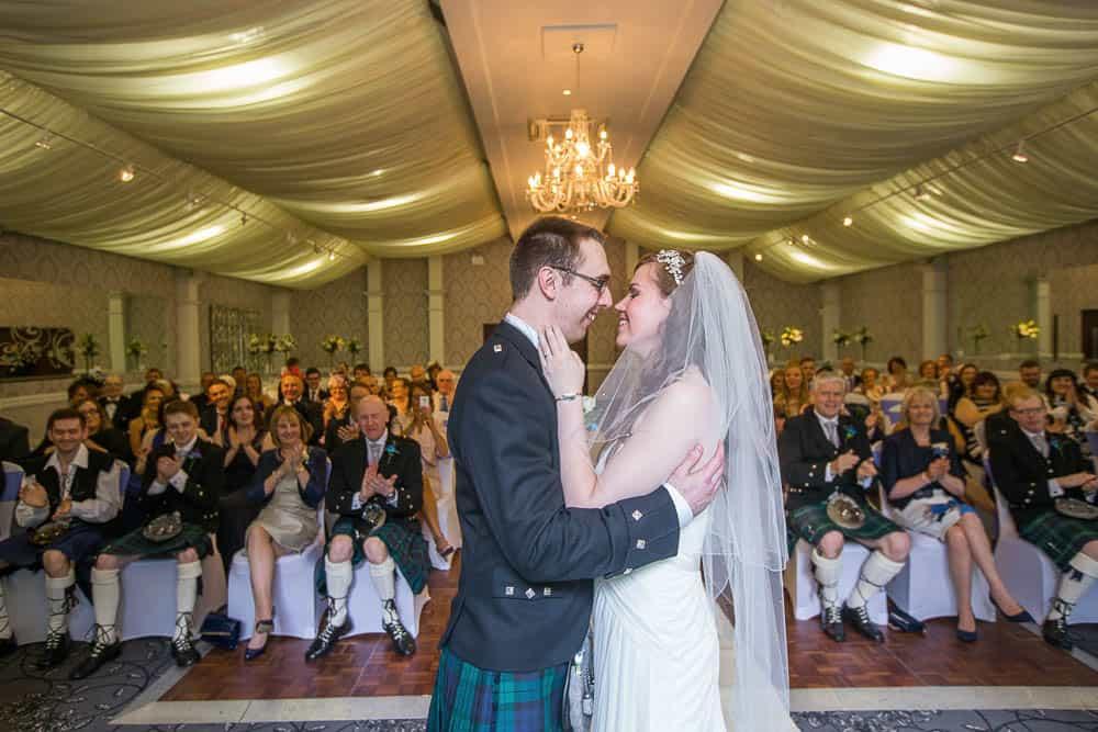 keavil house hotel wedding first kiss