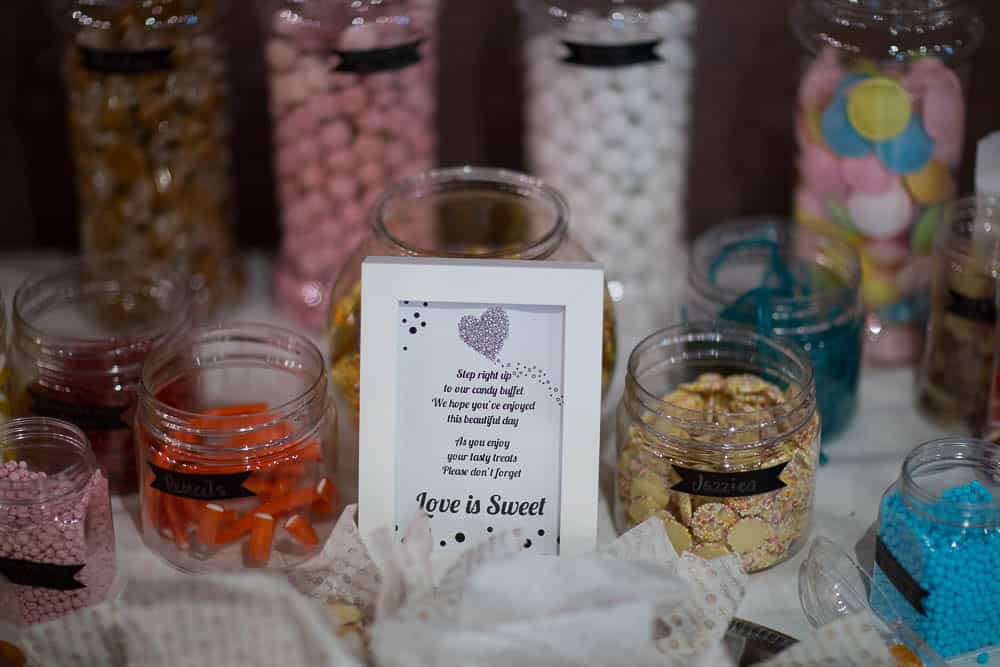keavil house hotel wedding sweets table sign love is sweet
