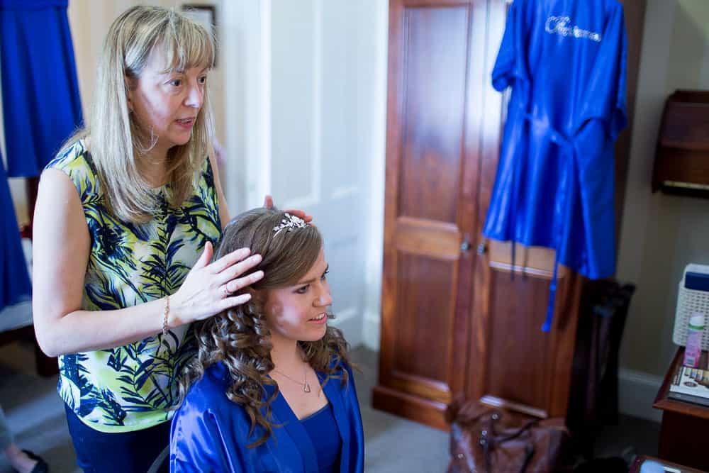 keavil house hotel wedding bride at hairdresser tiara in hair
