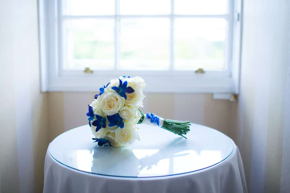 keavil house hotel wedding bride bouquet white and blue flowers
