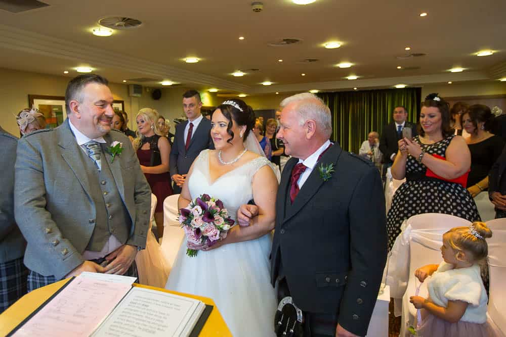 wedding photography westerwood hotel - father gives bride away