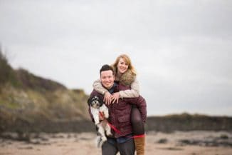 engagement photography dalgety bay - happy couple with dog